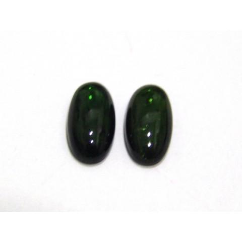 Turmalina Verde Oval Cabochão  Par 14x7 mm