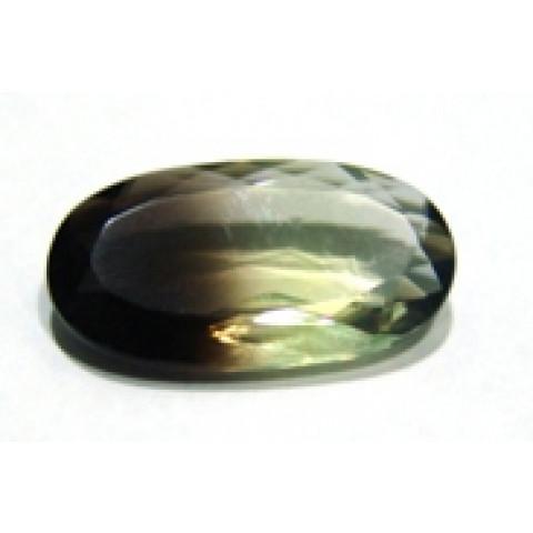 Green Gold Bicolor Oval Facetado  26x14 mm