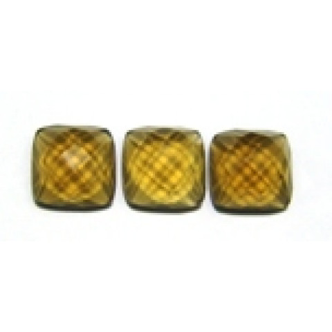 Green Gold Conhaque  Antique Briolet Fundo Plano 10x10x5 mm