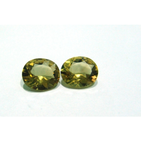 Green Gold -  Oval Facetado Par 14x12 mm