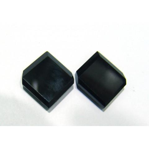 Quartzo Black Losangulo Placa com furo vasado Par 27.50x22 mm