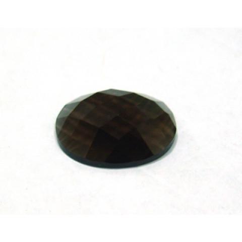 Quartzo Fumê  Oval Briolet com Fundo Plano 20x15 mm