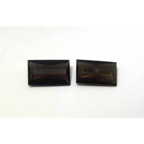 Quartzo Fumê - Retangular Facetado Pós-Barra 25x15mm