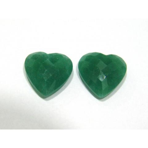Quartzo Verde Coração Briolet Com furo no topo Par 14.50x15 mm