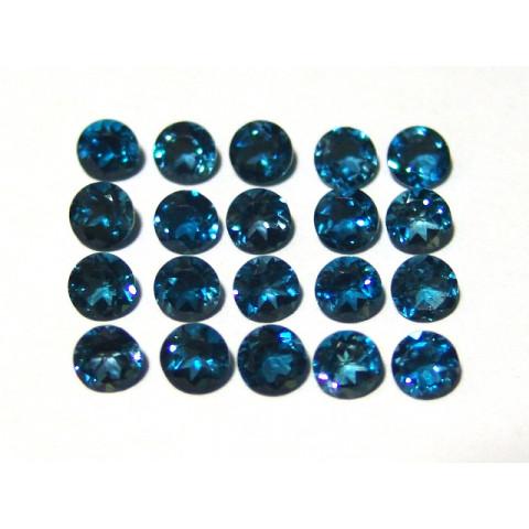 Topázio London Blue - Redondo Facetado 6mm