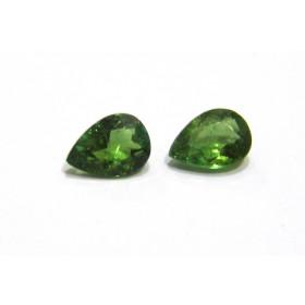 Turmalina Verde - Gota Facetada Par 7x5 mm