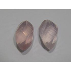 Quartzo Rosa Forma Especial Facetada Meio Furo Topo 18x10 mm