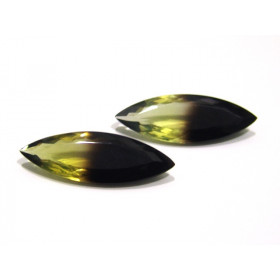 Green Gold Bicolor Navete Facetado Par 46x16 mm