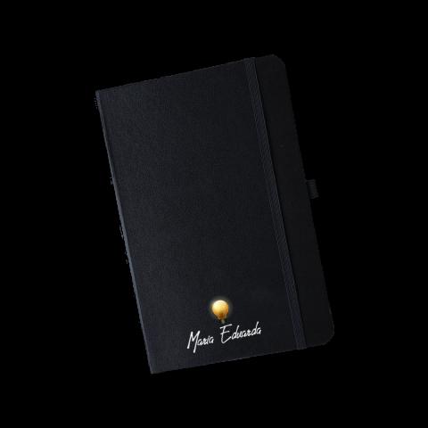 Caderno tipo moleskine com marca página - Tamanho Médio - Personalizado
