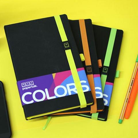 Caderneta Ótima Papertalk Maxi Pautado com caneta - Colors