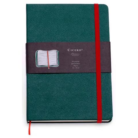 Caderneta Cícero Clássica sem pauta com elástico colorido e Caneta - 14 x 21cm