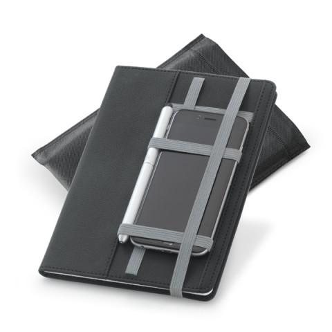 Caderno - Capa dura Preto com Elásticos para cartão e caneta - 15 x 21cm - unitário