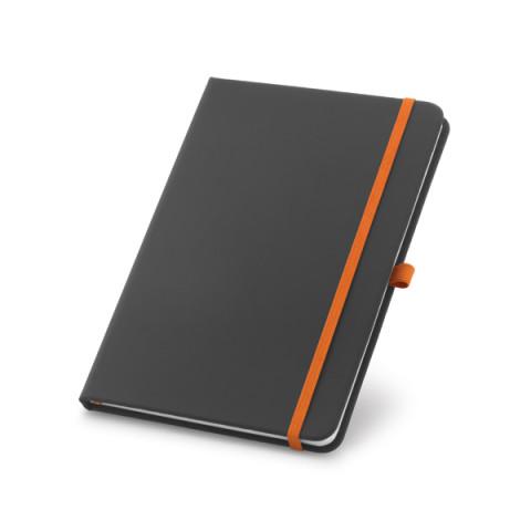 Caderneta - Capa Dura Preto com Elástico Colorido 9 x 14cm - unitário