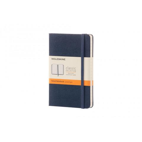 Caderno Moleskine Clássico de bolso, capa dura pautado com caneta - AZUL SAFIRA
