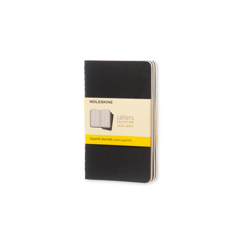 Caderno Moleskine Cahier de bolso, folhas quadriculadas com caneta - PRETO