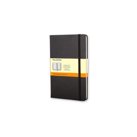 Caderno Moleskine Clássico grande capa dura pautado com caneta - PRETO