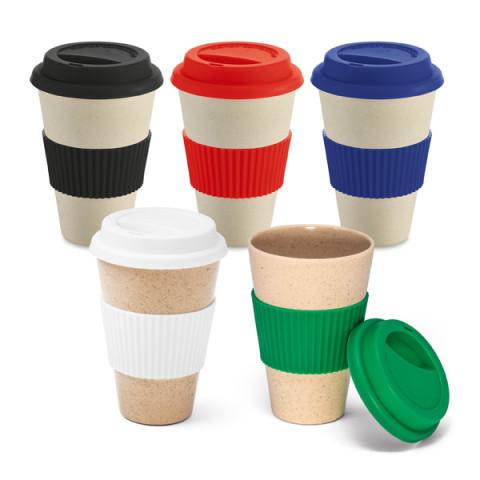 Copo Fibra De Bambu Para Café com tampa em silicone