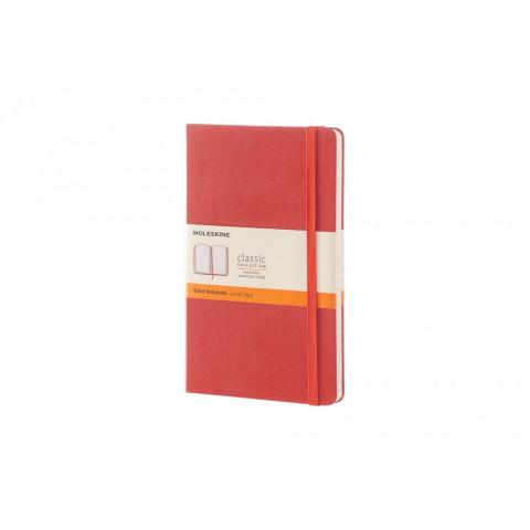 Caderno Moleskine Clássico grande capa dura pautado com caneta - LARANJA CORAL