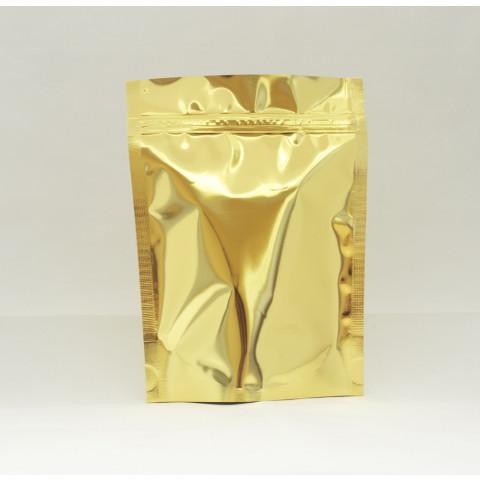 Saco Dourado com Zip Lock 8,5 x 12cm - 100 UNIDADES