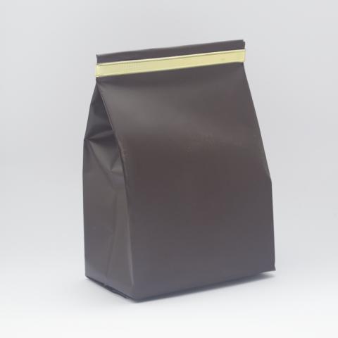Saco Fundo Quadrado | Marrom + fita metálica – 100 UNIDADES