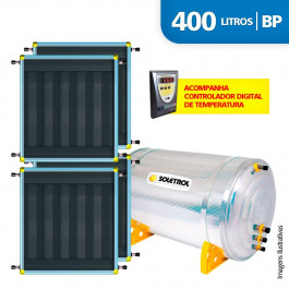 Aquecedor Solar Soletrol 400 Litros Digital com 4 Coletores Solares de 1.03m² - Baixa Pressão