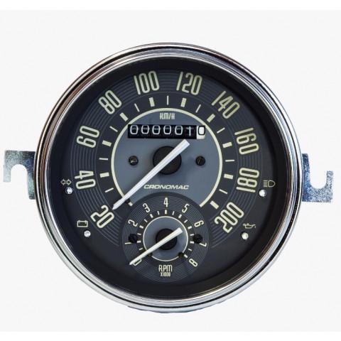 Velocímetro 110mm Mecânico 200kmh VW – Bege – Com Contagiros