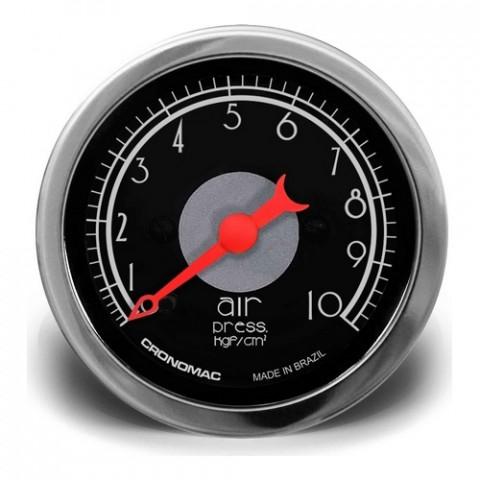 Manômetro de Pressão de Ar 0-10kgf/cm² 52mm - Linha Hot Rod Black