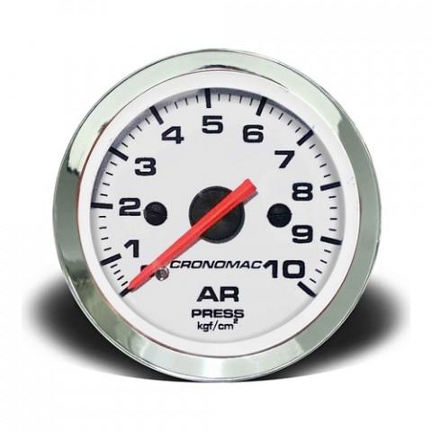 Manômetro de Pressão de Ar 0-10kgf/cm² Mec. - Linha Croma Branca