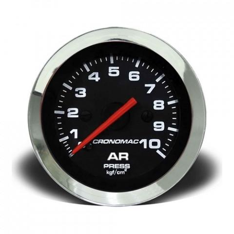 Manômetro de Pressão de Ar 0-10kgf/cm² Mec. - Linha Croma Preta