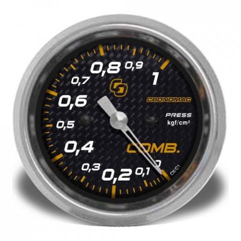Manômetro de Pressão de Combustível 60mm Mec. - Linha Carbono