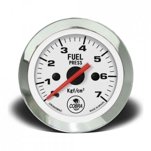 Manômetro de Pressão de Combustível Mec. 0-7kgf/cm² 52mm - Linha Shelby Cobra Branco