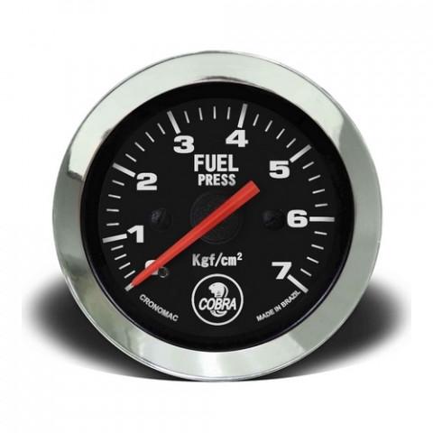 Manômetro de Pressão de Combustível Mec. 0-7kgf/cm² 52mm - Linha Shelby Cobra Preto