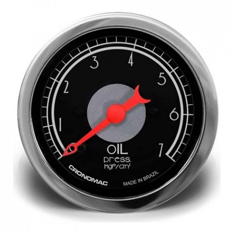 Manômetro de Pressão de Óleo 52mm Mec. - Linha Hot Rod Black