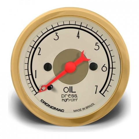 Manômetro de Pressão de Óleo 52mm Mec. - Linha Hot Rod Gold