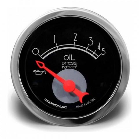 Manômetro de Pressão de Óleo Elétrico 52mm - Linha Hot Rod Black