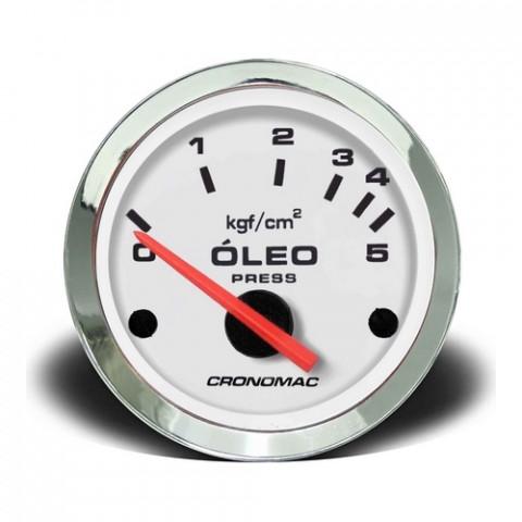 Manômetro de Pressão de Óleo Elétrico - Linha Croma Branca