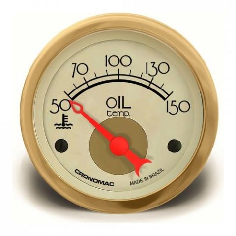 Termômetro Elétrico Óleo 52mm - Linha Hot Rod Gold
