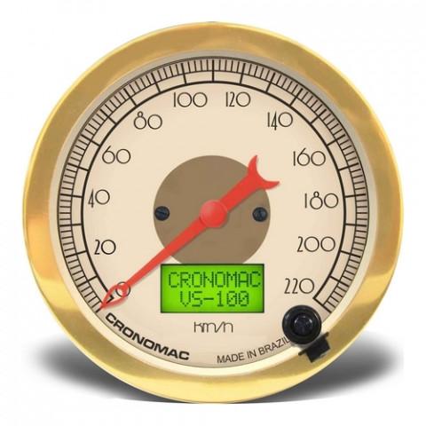Velocímetro Eletrônico 100mm com 2 Hodômetros - Linha Hot Rod Gold