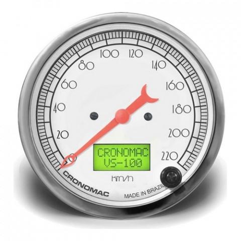 Velocímetro Eletrônico 100mm com 2 Hodômetros - Linha Hot Rod Silver