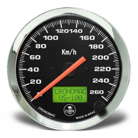 Velocímetro Eletrônico 100mm - Linha Shelby Cobra Preto