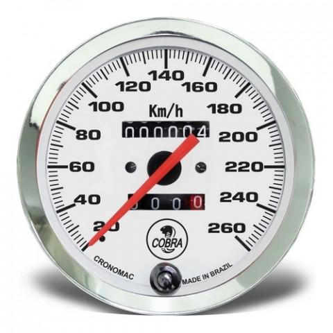 Velocímetro Mecânico 100mm 2 Hodômetros - Linha Shelby Cobra Branco