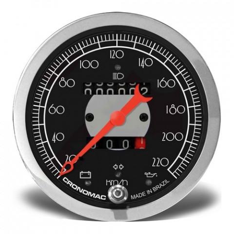 Velocímetro Mecânico 100mm com 2 Hodômetros + Sinaleira - Linha Hot Rod Black