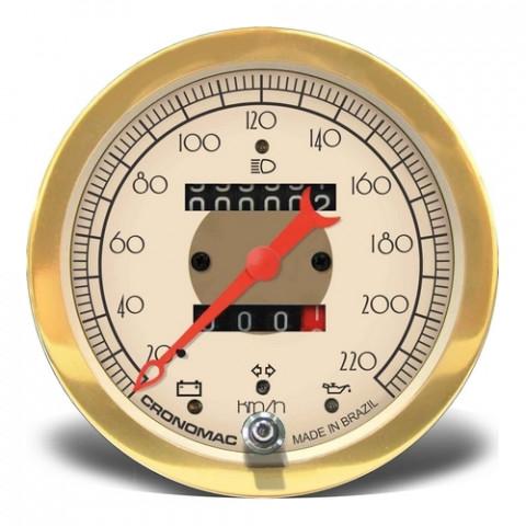 Velocímetro Mecânico 100mm com 2 Hodômetros + Sinaleira - Linha Hot Rod Gold
