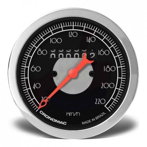 Velocímetro Mecânico 85mm com 1 Hodômetro - Linha Hot Rod Black