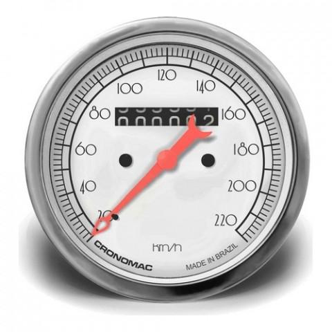Velocímetro Mecânico 85mm com 1 Hodômetro - Linha Hot Rod Silver