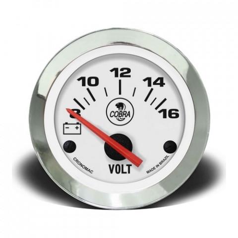 Voltímetro 52mm 12V - Linha Shelby Cobra Branco