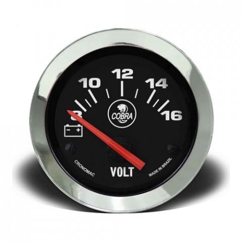 Voltímetro 52mm 12V - Linha Shelby Cobra Preto