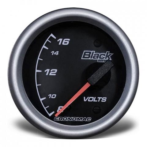 Voltímetro Elétrico 60mm 12V - Linha Black Series