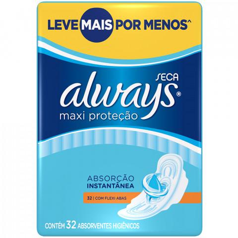 ABSORVENTE ALWAYS MAXI PROTECAO SECA COM ABAS 32un