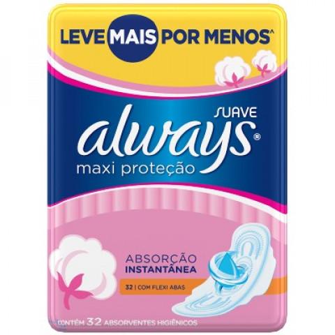 ABSORVENTE ALWAYS MAXI PROTECAO SUAVE COM ABAS 32un